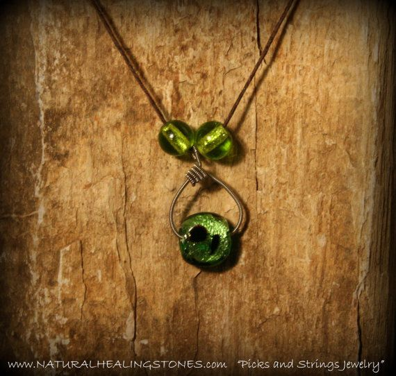 guitar string jewelry with green glass by Picksnstringsjewelry, $26.00