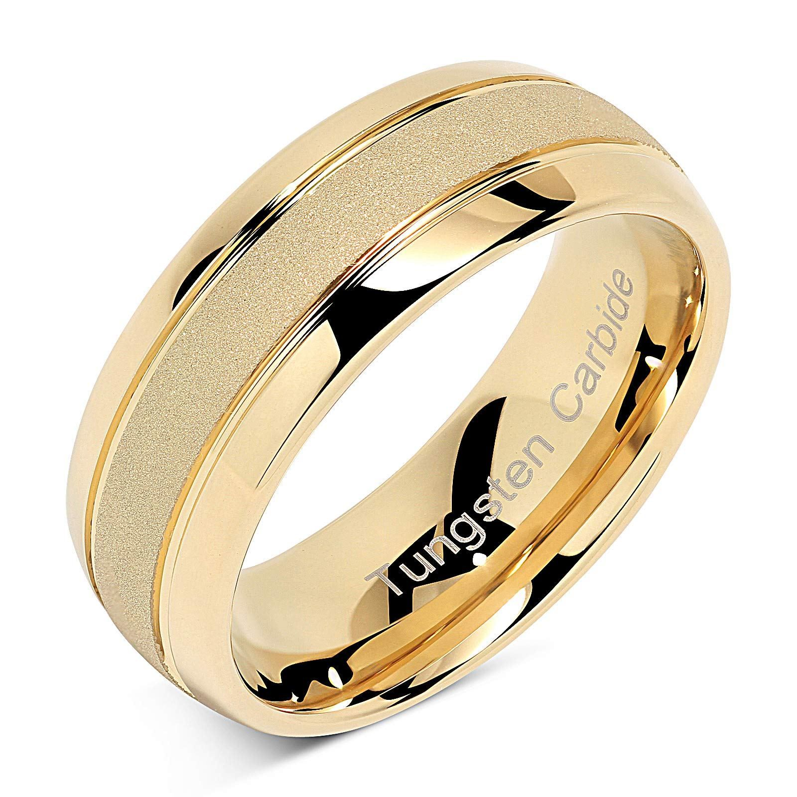 100s Jewelry Tungsten Rings For Men Women Gold Wedding Band Sandblasted Finish Dome Edge Sizes 6 16 Lovely Novelty Tungsten Mens Rings Rings For Men Womens Engagement Rings