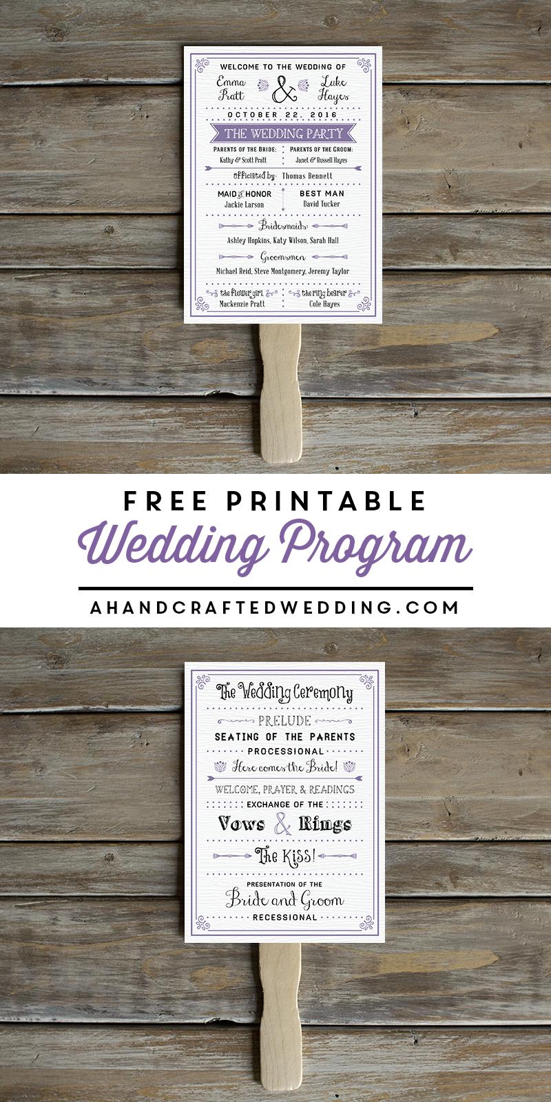 Free printable wedding program jackies wedding pinterest