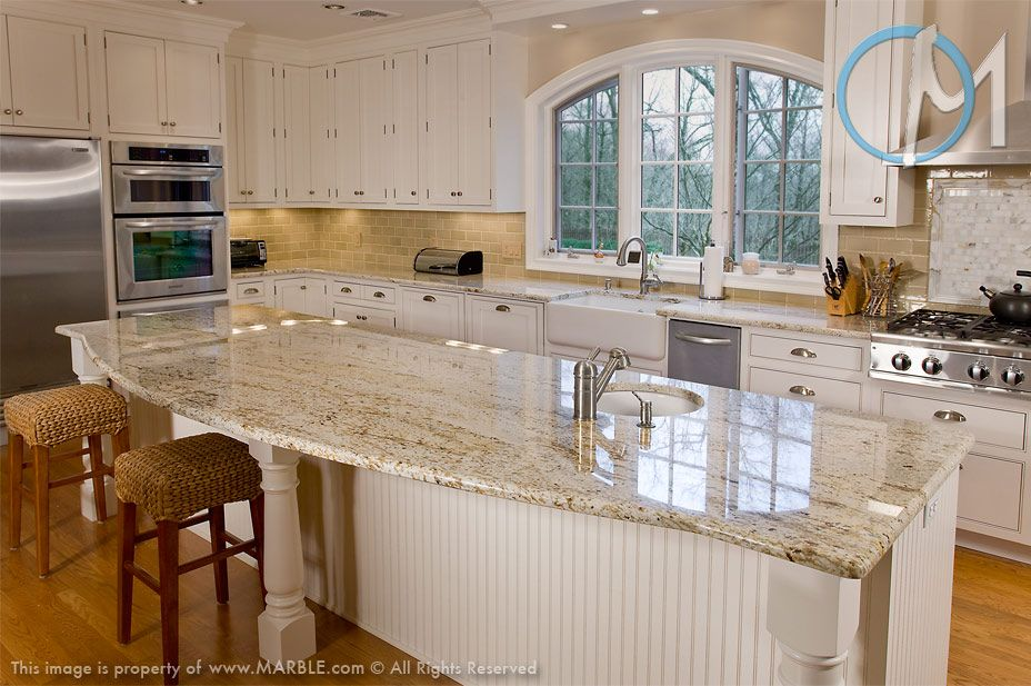 Genial White Cabinets With Granite Countertops | Colonial Gold Granite In Kitchen  Photo Gallery.