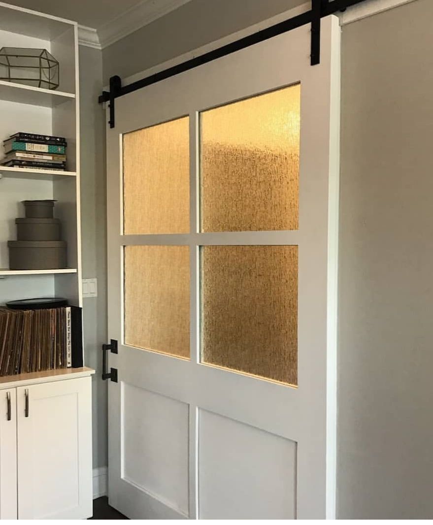 This 6 Panel Barn Door Is Sized 96 X 53 And Has 4 Rain Textured Glass The Textured Glass Allows Light To Enter The Room But Still In 2020 Barn Door Rain Glass Doors