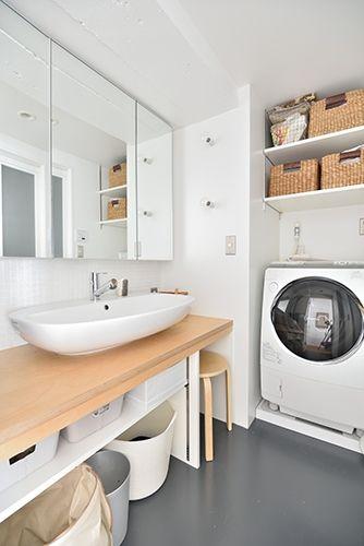 ポイントは カウンター下に椅子が収納できるようになっていること スキンケアやメイク時に便利 r不動産 Toolbox 椅子 洗面所 洗面台