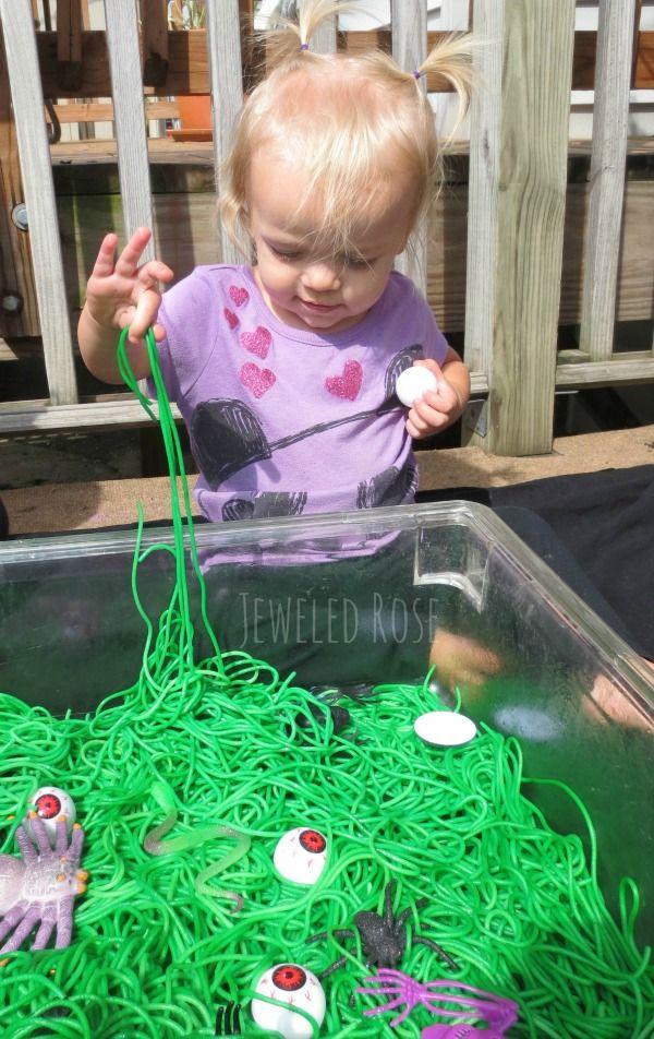 Halloween Sensory Activity Goblin Guts ~ Growing A Jeweled Rose - halloween party ideas for preschoolers