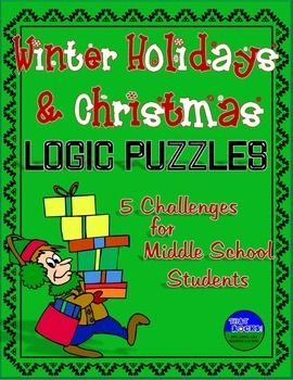 winter holiday christmas fun nine logic puzzles for middle school math for sixth grade. Black Bedroom Furniture Sets. Home Design Ideas