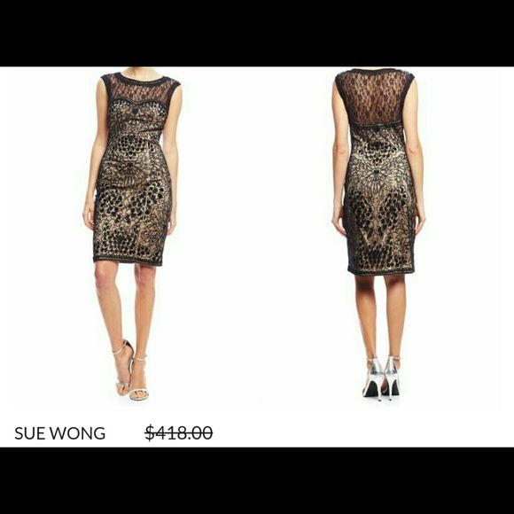 SUE WONG Evening Dress Black Lace and gold Sue Wong Dresses