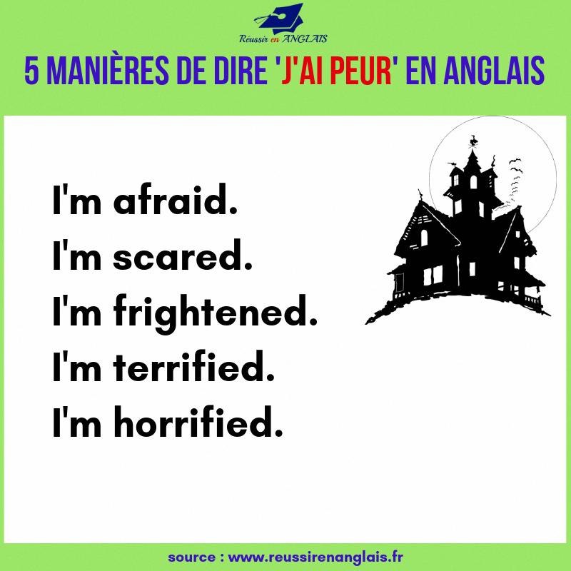 5 Manieres De Dire J Ai Peur En Anglais 5 Ways To Say I M Afraid Esl English Anglais Halloween Englishvo Apprendre L Anglais Anglais Vocabulaire Anglais