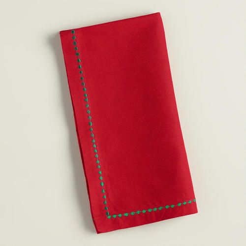 One of my favorite discoveries at WorldMarket.com: Red and Green Embroidered Cotton Napkins, Set of 4