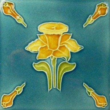 Antique Art Nouveau Majolica Ceramic Tile Art Deco