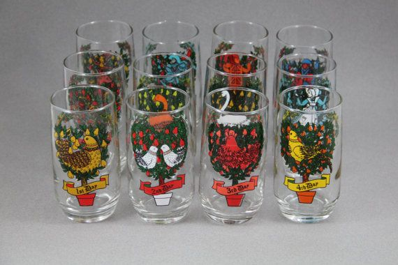 12 days of christmas glasses complete set of 12 anchor hocking twelve days of christmas vintage 1970s