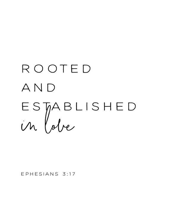 Ephesians 3:17, Rooted and Established in Love, Bible Verse Printable, scripture printable, scripture art, Bible verse art, kids, God's love