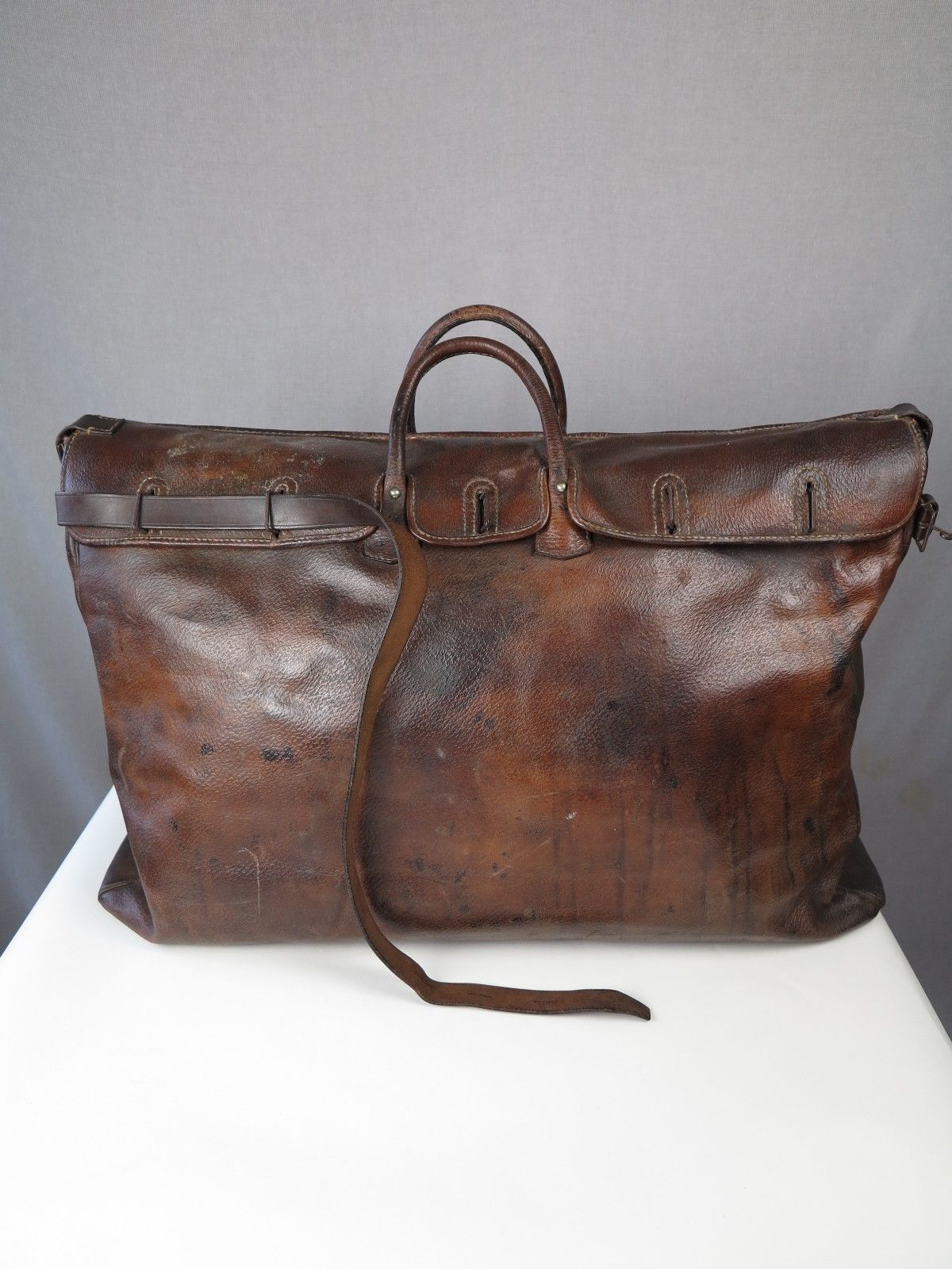 Valise Antique Bag Vtg Leather Gladstone 1920s Travel Holdall