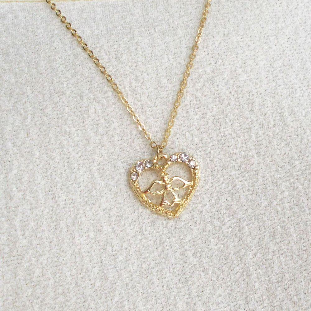 Jewelry set crystal earrings heart angel crystal pendant chain
