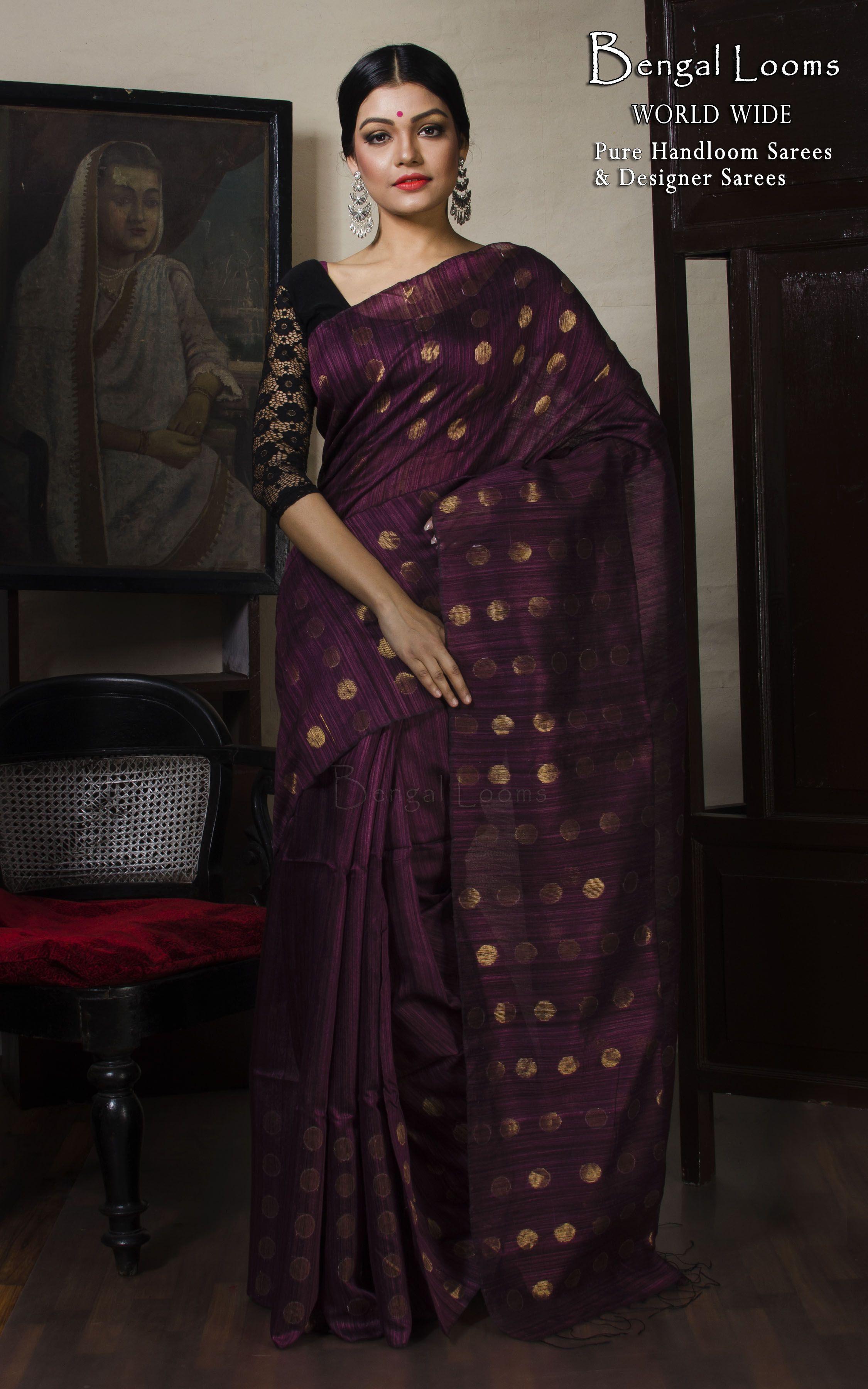 74535b80cbfc Khadi Matka Silk Saree in Wine Red and Antique Gold