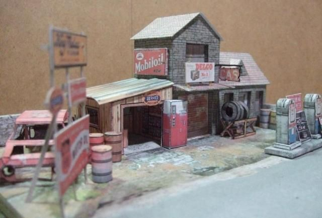 Route 66 Abandoned Gas Station Paper Model - Assembled by