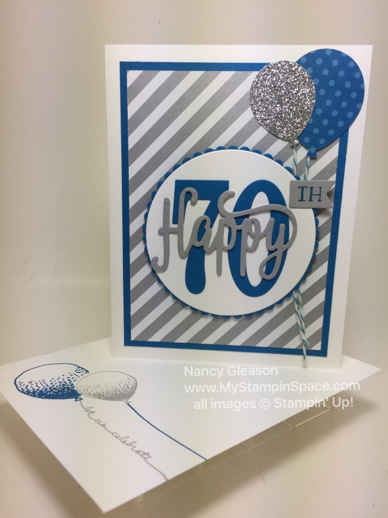 Happy 70th Birthday Card With Envelope 70th Birthday Card Stampin Up Birthday Cards Cricut Birthday Cards