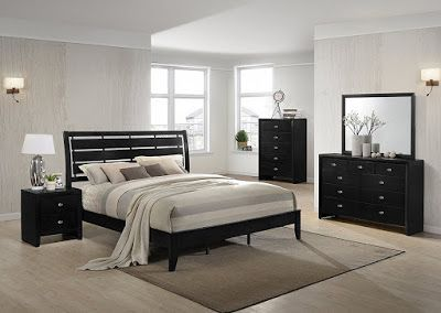 Gloria Black Finish Wood Bed Room Set Queen Bed Dresser Mirror Night Stand Chest Classic Mission Styli 5 Piece Bedroom Set Wood Bedroom Sets Bedroom Sets