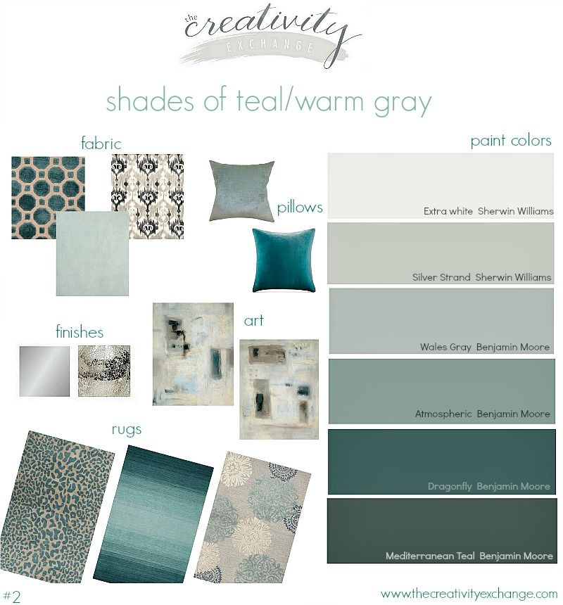 Shades of teal paint colors layered with warm gray great for Warm grey living room ideas