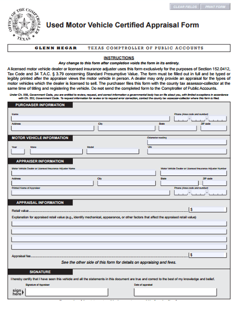 Car Appraisal Form 5. Performance evaluation, Evaluation