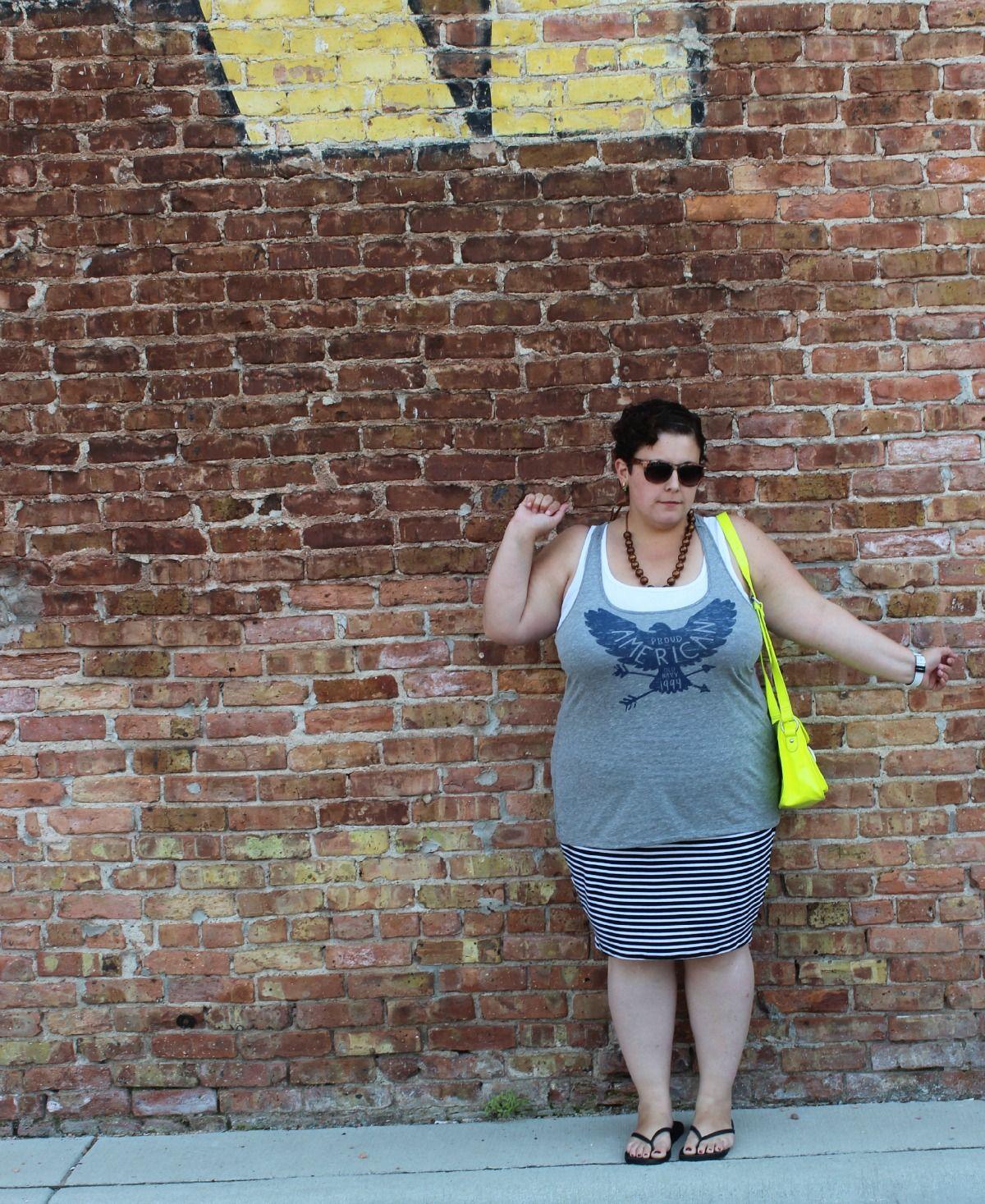 Graphic Tee Striped Pencil Skirt Neon Satchel Torrid Plussize