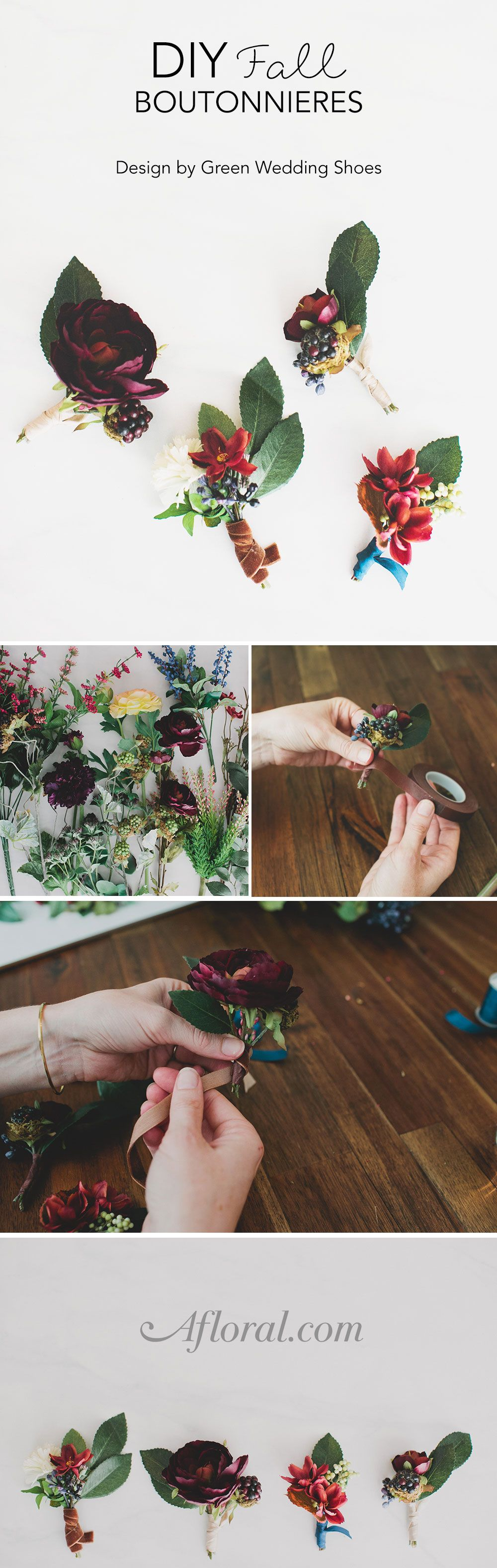 Diy Fall Boutonnieres Wedding Pinterest Green Weddings Silk