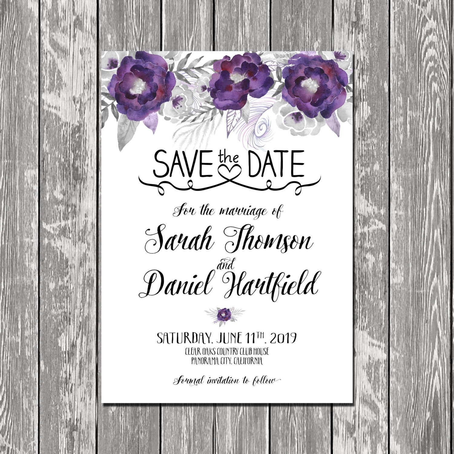 Purple Cream Pretty Personalized Wedding Save The Date Cards