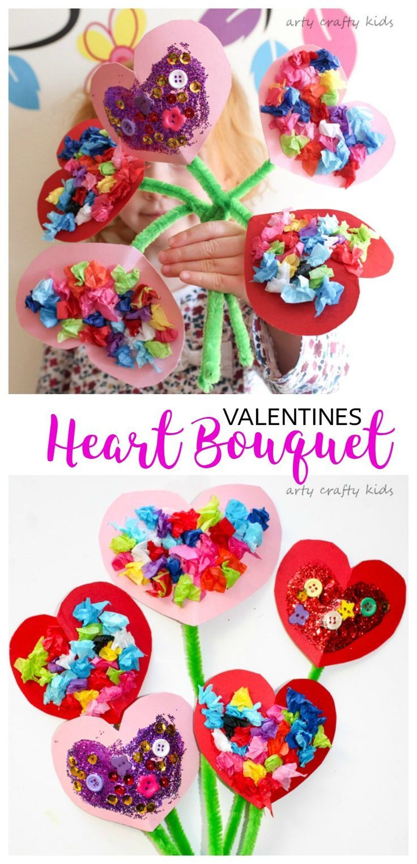 Kids Valentines Craft Ideas Part - 22: Arty Crafty Kids | Valentines | Craft Ideas For Kids | Toddler Valentines  Heart Bouquet |