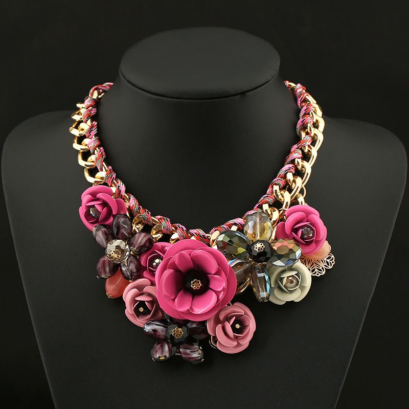 Charm-Lady-Fashion-Colorful-Resin-Big-Flower-Golden-Chain-Choker-Bib-Necklace