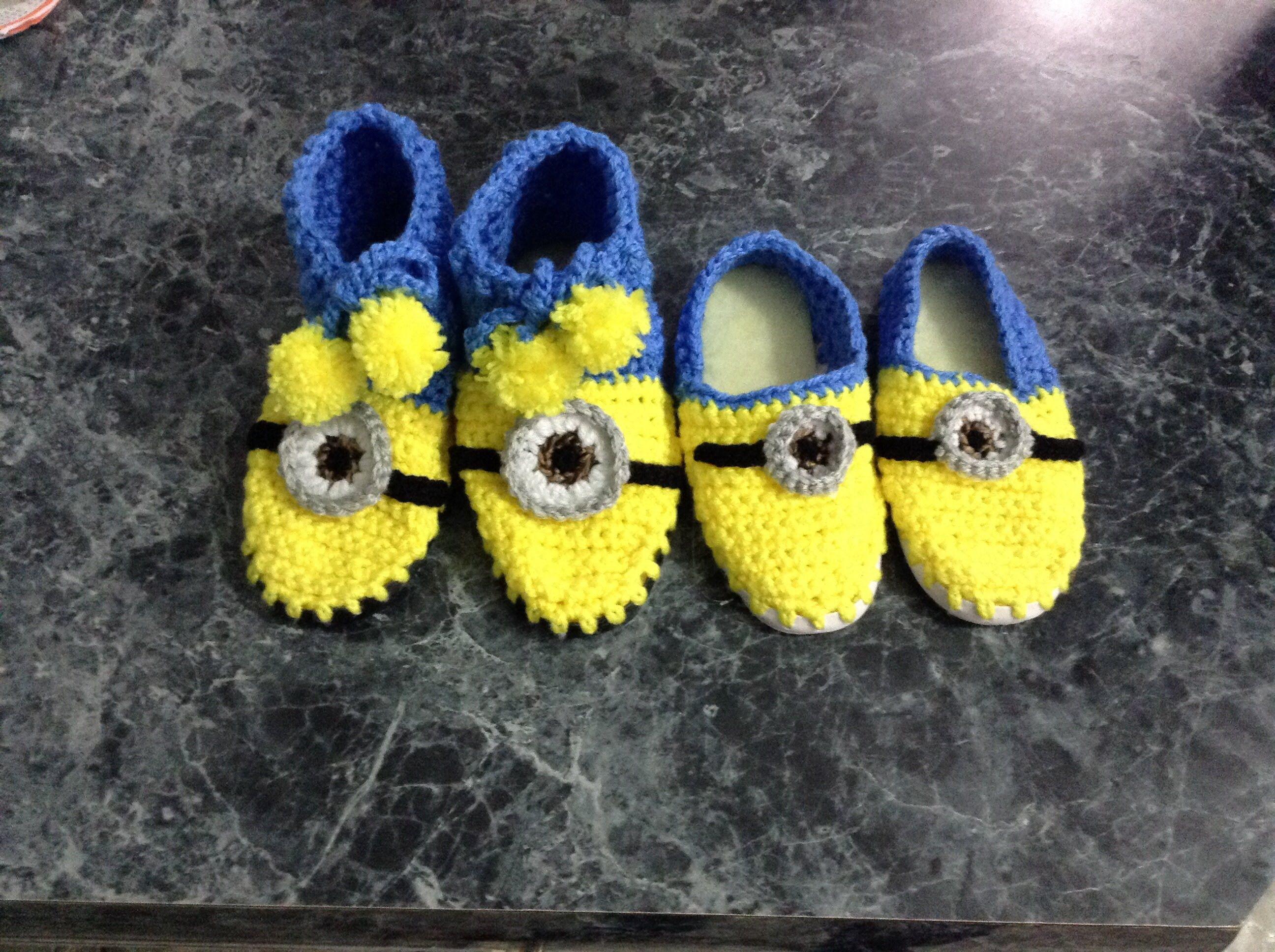 Pantuflas minions, crochet, gancho, muy fácil   Botas en crochet ...