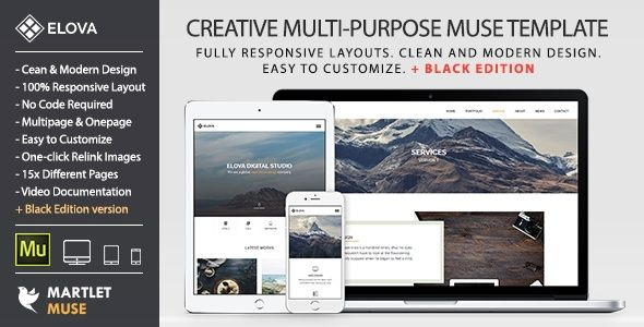Emda Muse Responsive Templates Blogs Pinterest Template