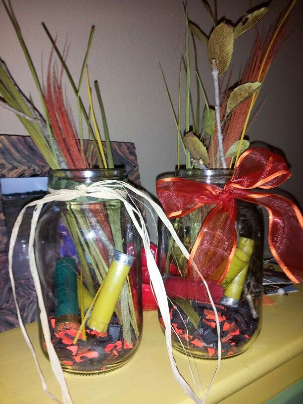 Hunting themed centerpieces.   Hunting birthday party