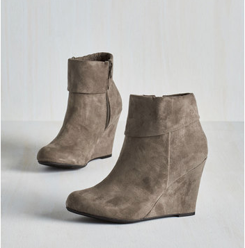 In this on-trend gray Fold, Please Bootie made from vegan suede, you'll look sophisticated and chic. Pair them with skinnies or a skirt! http://thestir.cafemom.com/beauty_style/190293/10_fab_booties_for_fall