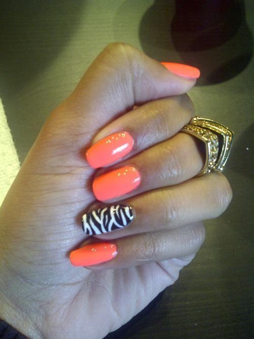 Orange / Zebra Nails