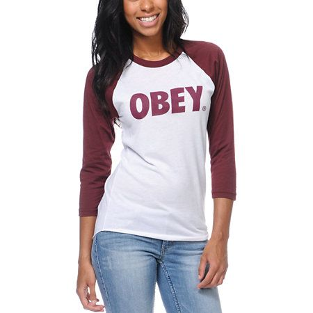 Obey Font White & Burgundy Baseball Tee | Back to, Fonts and Back ...