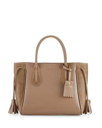 LONGCHAMP Penelope Small Leather & Suede Tote Bag, Taupe ...