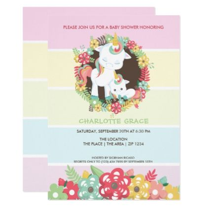 Cute unicorn personalized baby shower card shower gifts diy cute unicorn personalized baby shower card shower gifts diy customize creative negle Choice Image