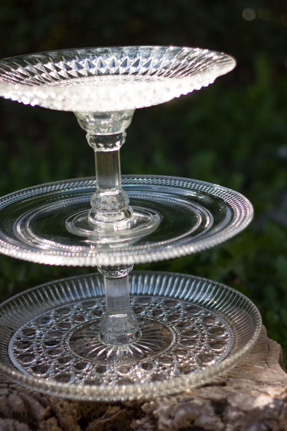 Crystal glass three tier cake or cupcake stand 5000