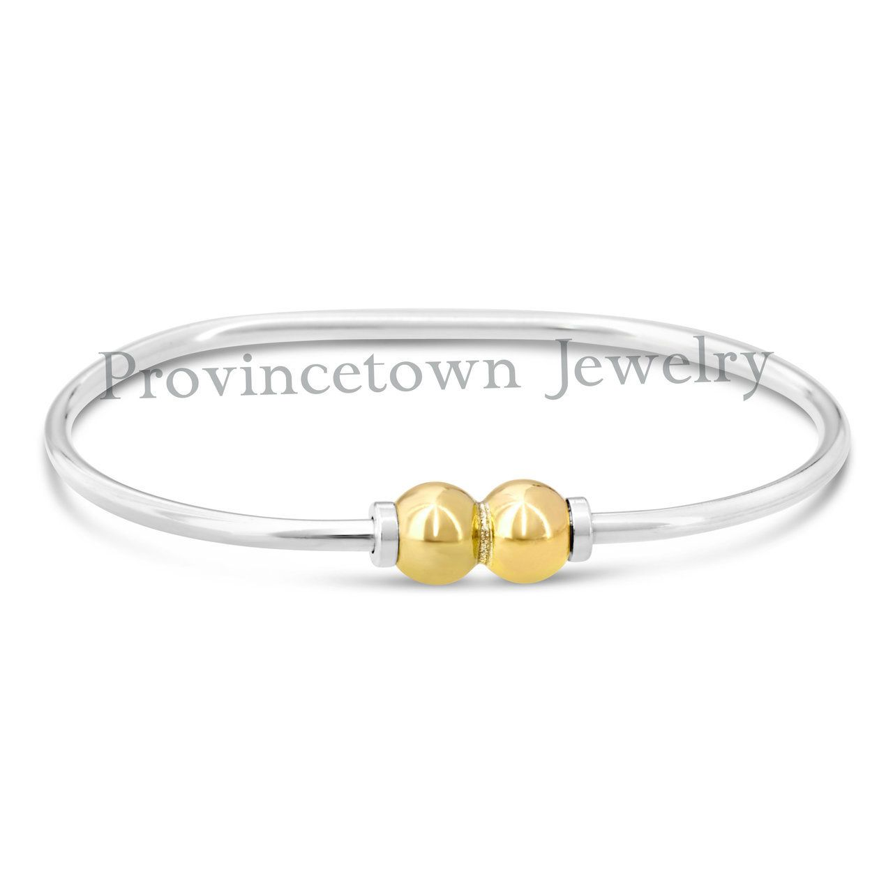 Cape Cod Two Ball Two Tone Bracelet 925 Sterling Silver And 14k Two Balls   Provincetown
