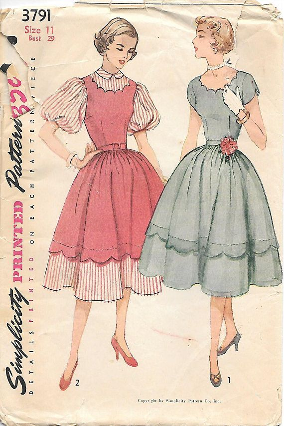 Simplicity 3791 1950s Scalloped Neck Dress or Jumper with Full ...
