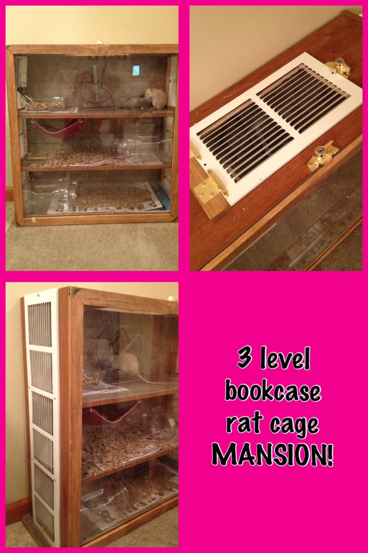 Bookcase Turned Into Huge 3 Level Rat Cage Mansion This Is Lined With Linoleum Has A Plexi Glass Front That Slides Up Out For Easy Cleaning