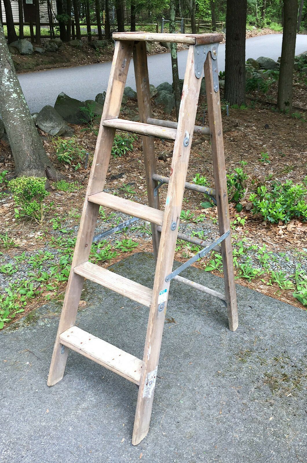 Vintage Old Antique Ladder Rustic Step Wood Folding Ladders Shelve House Decor Ladder Decor Idea Blanket Ladder Decor Rustic Blanket Ladder Wallpaper Decor
