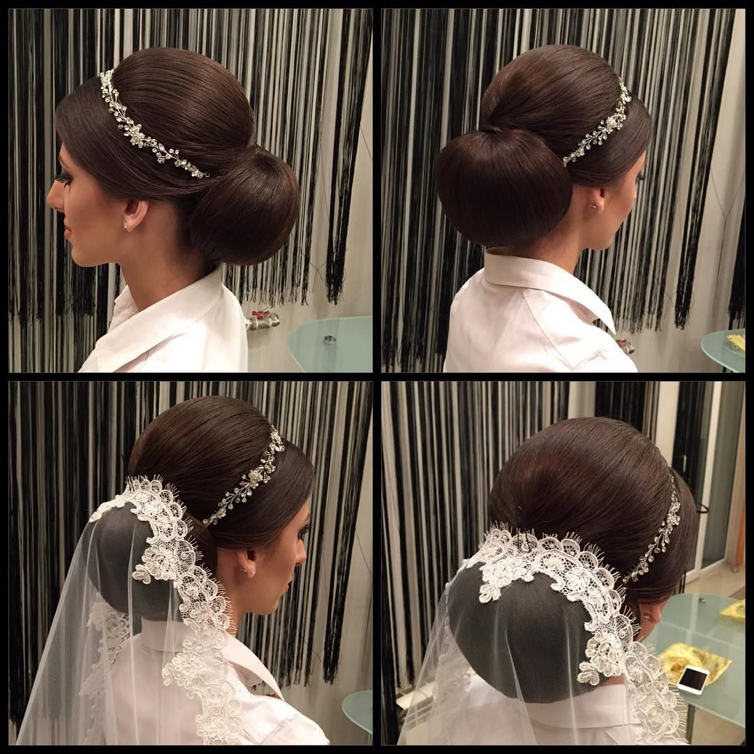 formal hairstyle with mantilla veil and tiara headband