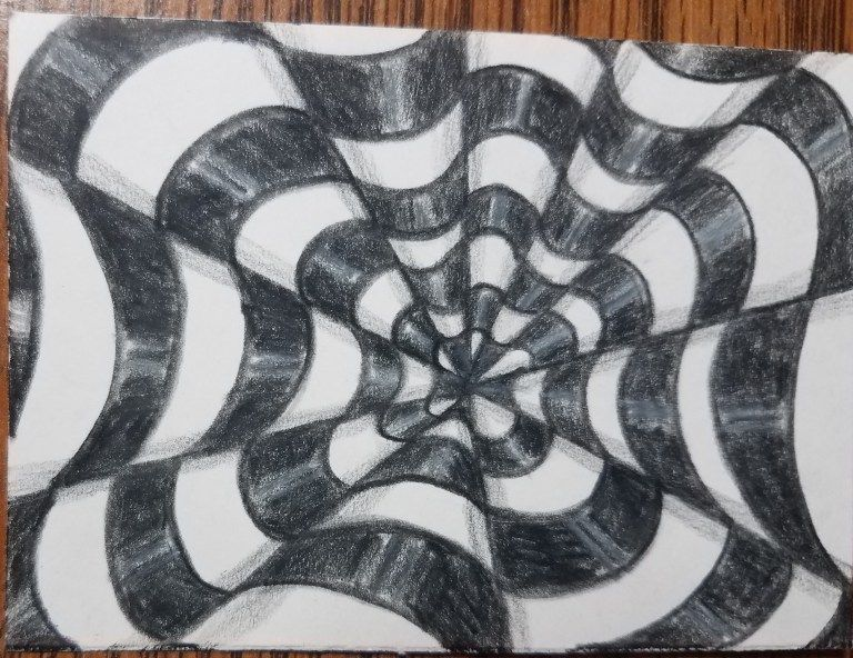 How To Draw Op Art Bullseye Finished Drawing With Highlights And Shadows Shadow Drawing Op Art Illusion Drawings