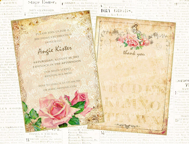 Vintage Tea Party Wedding Invitations: Victorian Tea Party Invitation