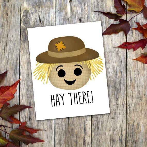 Hay There 8x10 Digital Printable Poster Funny Saying Scarecrow Fall Pun Autumn Puns Happy
