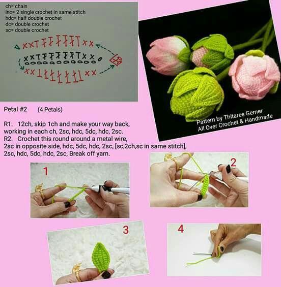 3-3 capullo | 1 Flor patrones (flowers)crochet | Pinterest | Flores ...