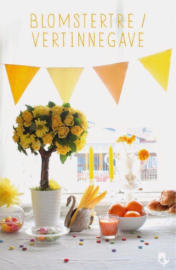 Flowertree, hostess gift, easter, flower decorations, DIY, yellow, Hobbylilla, Eastertable