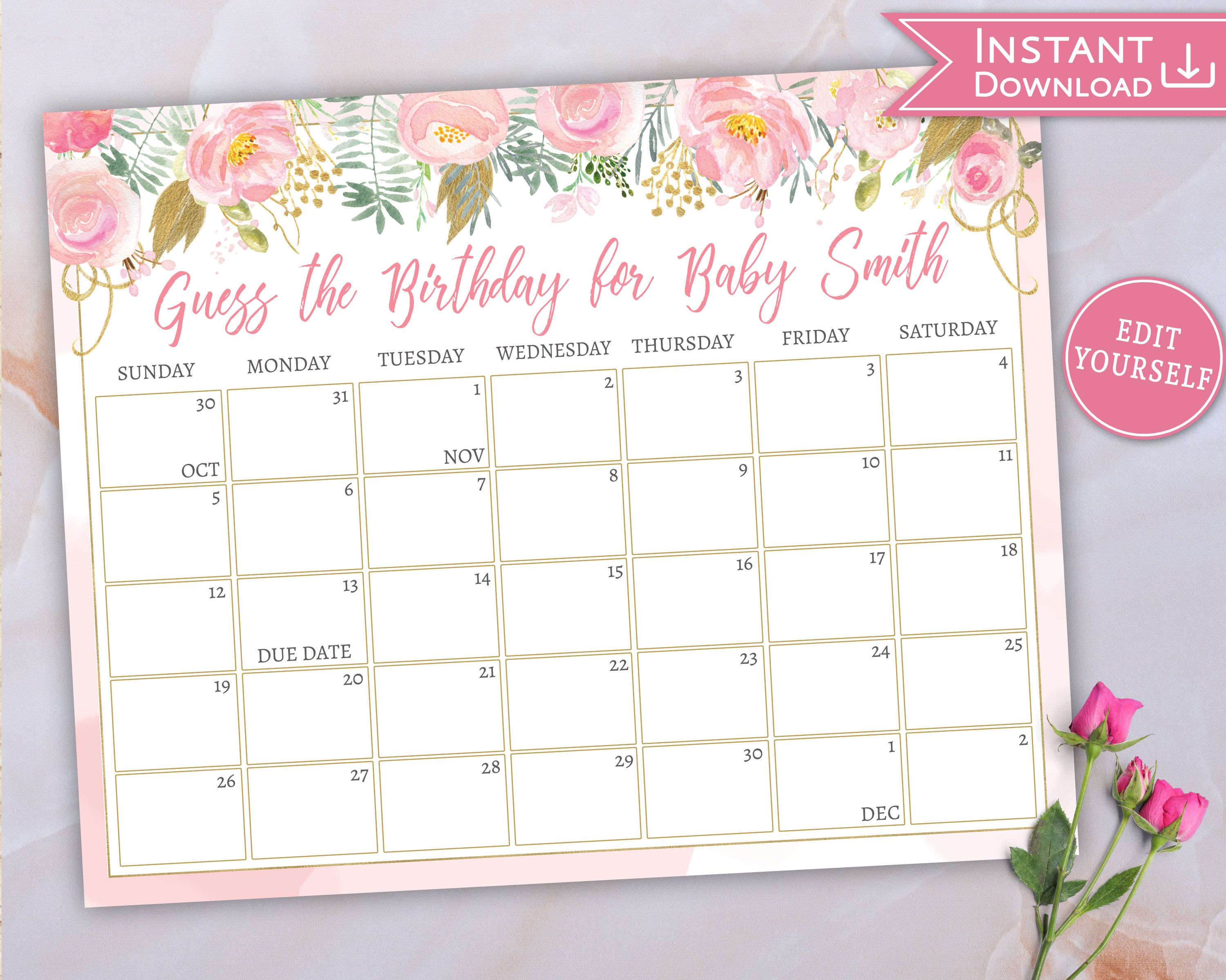 Baby Due Date Calendar Guess Babys Birthday Floral Pink Gold Baby