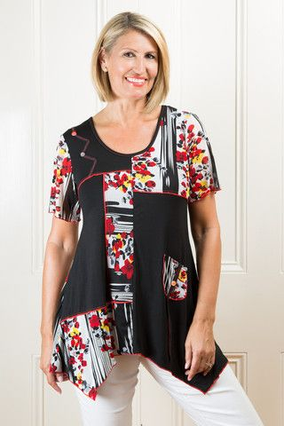 Tulio Floral and Black Panel Top