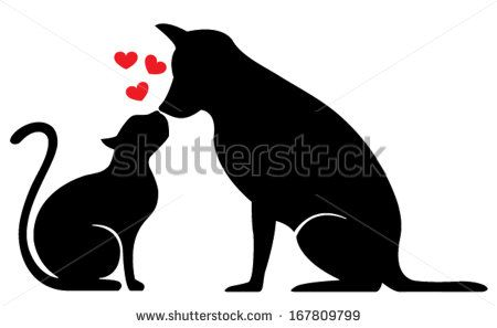 Dog And Cat Silhouette On White Cat Tattoo Dog Tattoos Cat Silhouette