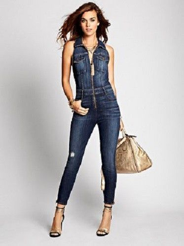 68bab2e52004 NEW WOMENS GUESS CARA DENIM JUMPSUIT BLUE DISTRESSED SLEEVELESS STRETCH S 2  26  GUESS  Jumpsuit